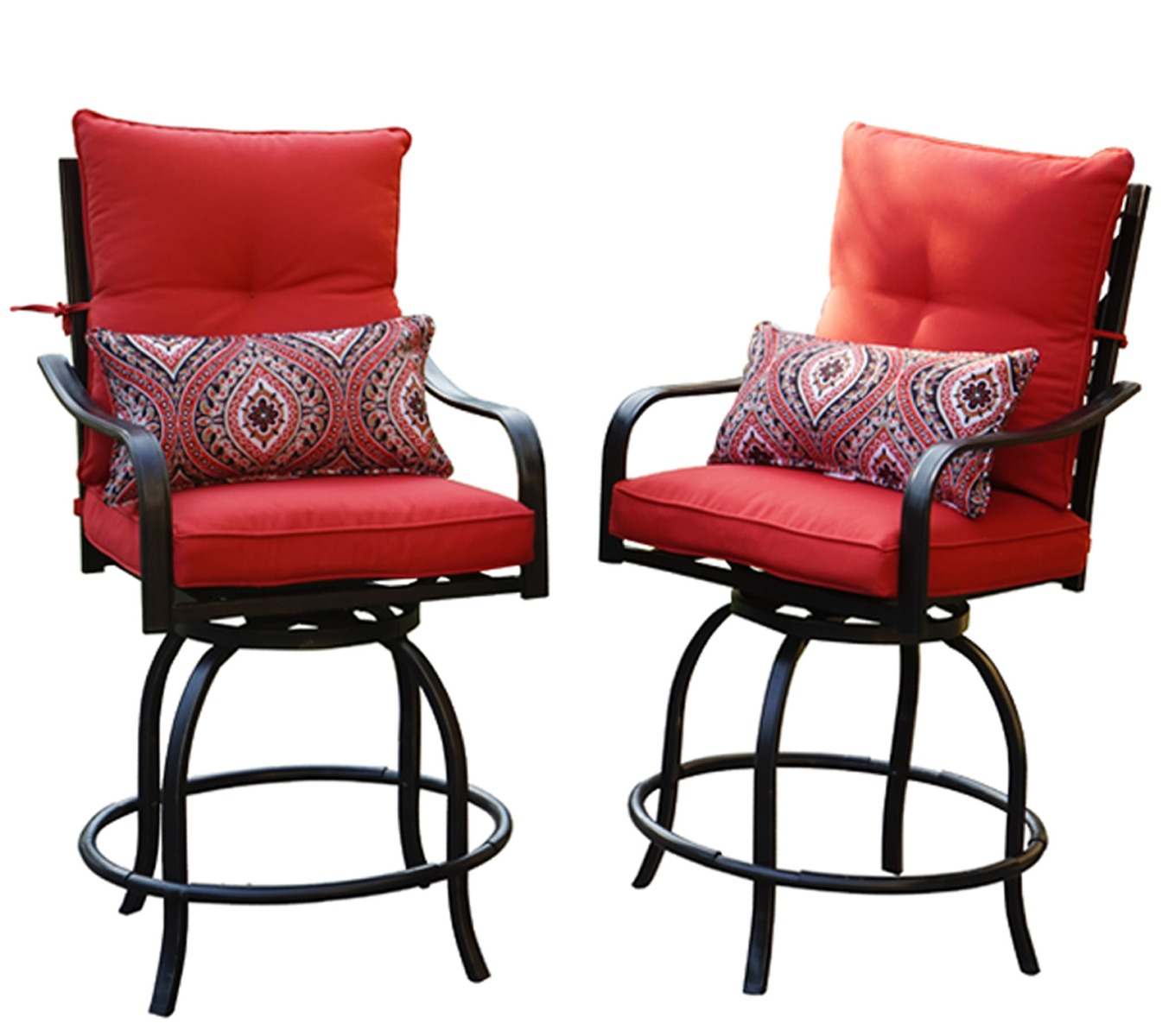 Kozyard Corona 360 Degree Swivel Two Bar Chairs (2 Patterned Pillows Included)